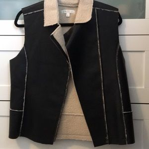 Faux leather and Sherpa vest